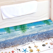 Coconut Tree Sea 3D Stereo Wall Sticker Decal Wave Shell Sand Beach Wallpaper Poster Bathroom Floor Applique Decor