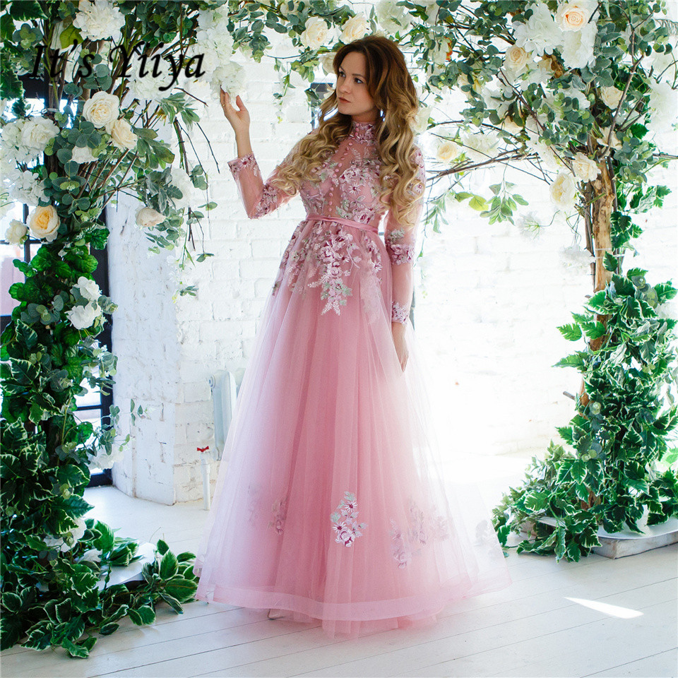 It's Yiiya Evening Dress Embroidery Flowers Long Sleeve Wedding Formal Dresses Appliques Lace Illusion Party Gown Hot Sale LX028