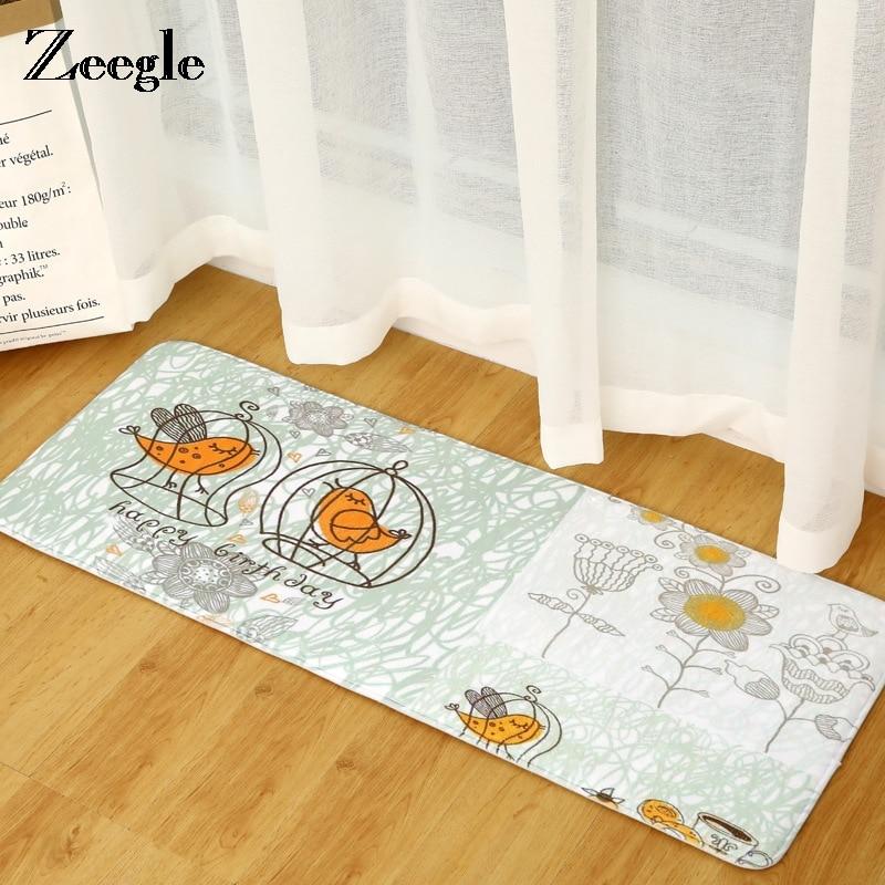 Zeegle Kitchen Mat Bathroom Home Decor Absorbent Non-slip Sponge Mats Carpet Tapete Kids Bedroom Cartoon Bedside Rugs