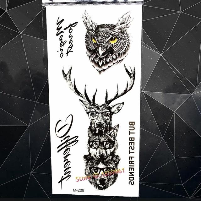aee53d9fe Black Waterproof Temporary Tattoo Deer Horn Elk Body Arm Moose Wolf Bear Owl  Fake Flash Tattoo