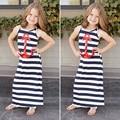 Summer Baby Girls Kids Dresses Sleeveless Anchors Striped Navy Wind Long Dress Princess Ankle-Length Dress