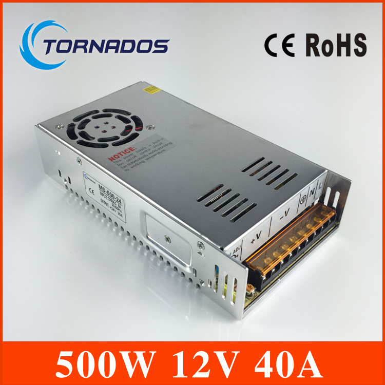 ac to dc 500W 12v 40A Sufficient 110V/220V Strip Lamp led driver source switching power supply volt MS-500-12 best quality 12v 15a 180w switching power supply driver for led strip ac 100 240v input to dc 12v