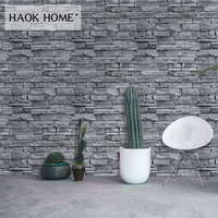 HaokHome Vintage Stacked Stone Self Adhesive Wallpaper For wall 3d Peel Stick Grey Contact Paper living room Bedroom Bathroom