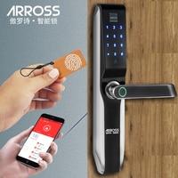 ARROSS Biometric Electronic Door Lock Smart Fingerprint Code Card APP Key Touch Screen Digital Password Lock for home smart lock