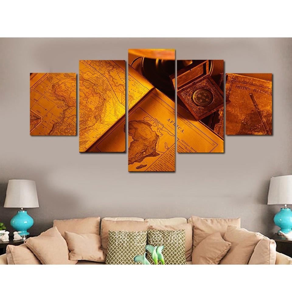 Schilderij modulaire fotowand afdrukken Type 5 stuk / set papieren - Huisdecoratie