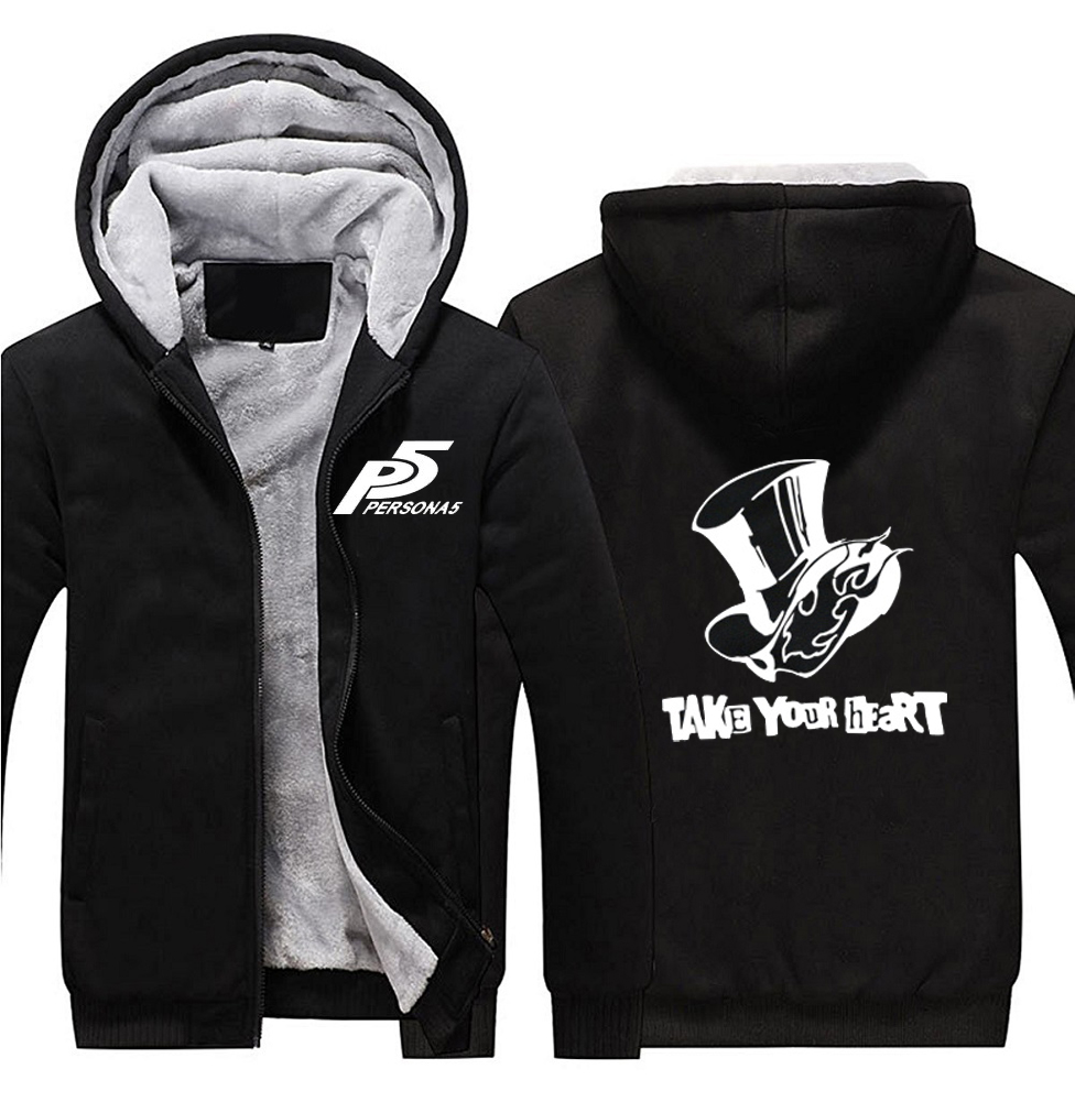 2017 Game Persona 5 P5 Take Your Heart Logo Hoodies Zip Up Polyester Hooded Winter Super Warm Fleece Sweatshirts Coats In From Mens