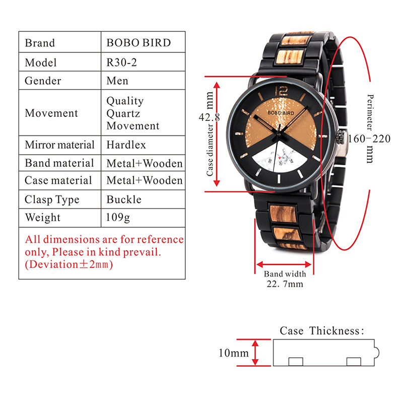 BOBO BIRD Zebra Wood & Metal Stylish Wooden Watch For Men with Date Display 7