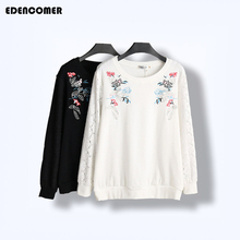 Spring 2017 New Large Size Women Embroidery Sweatshirt Hollow Plus Size Black White Pullover Sweatshirts Felpa Donna Moletom Fem