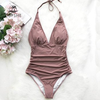 Cupshe Pink Dawn Mist Shirring One-piece Swimsuit Women Sexy Halter V-neck Plain Monokini 2020 Summer Female Beach New Swimwear 1