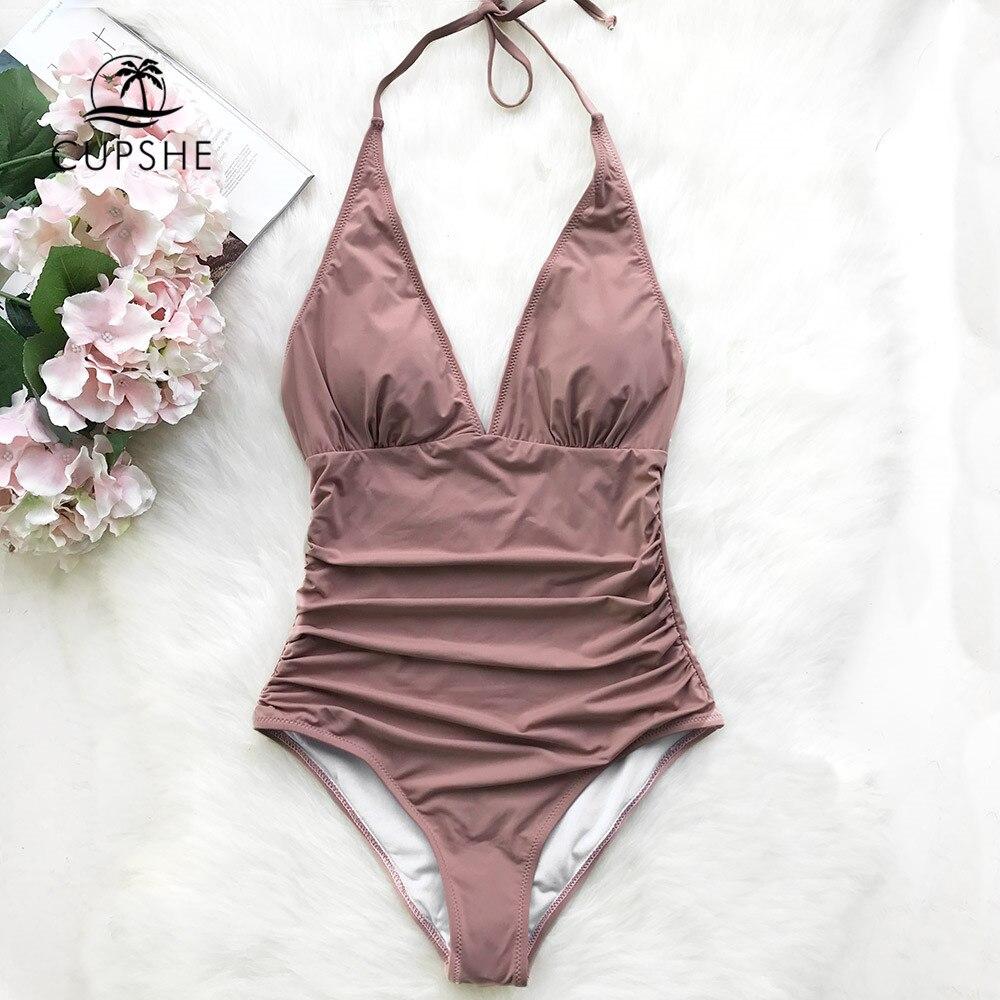Cupshe Pink Dawn Mist Shirring One-piece Swimsuit Women Sexy Halter V-neck Plain Monokini 2019 Summer Female Beach New Swimwear
