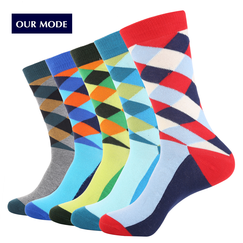 OUR MODE Men Fashion Diamond lattice Pattern Cotton Socks Street Harajuku Long Socks Hipster Dress Sock tide EUR39-45