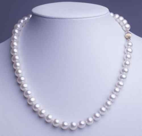 "Free >>Genuine Natural 6-12MM WHITE CULTURED PEARL jewelry necklace 17""AAAAA"