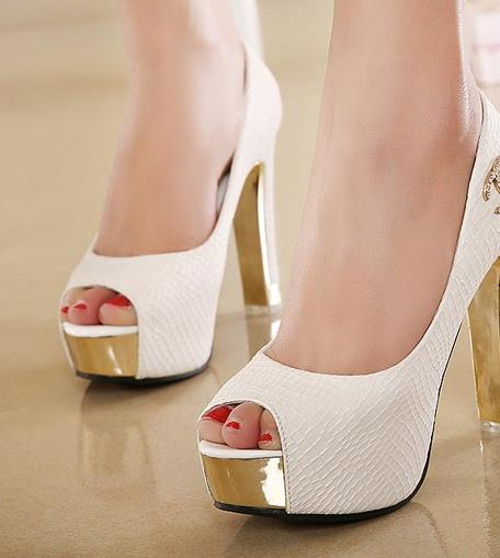 12 cm super high heels and sexy nightclub fish mouth shoes diamond wedding thick with waterproof light mouth white shoes autumn