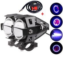 2 STÜCKE 12 V universal motorrad scheinwerfer led 125 watt 3000lm motorrad scheinwerfer u7 cree Chip führte Fahr Nebel Spot kopf Licht Lampe