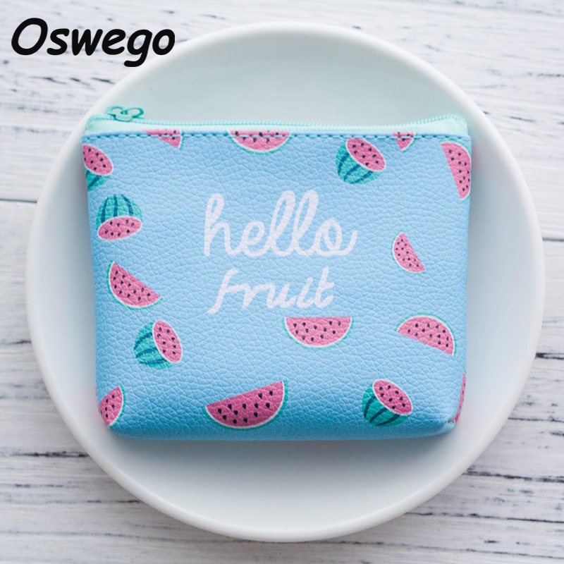 Summer Cartoon Fruit Printing Coin Purse Wallet Korean Style Coin Money Key Pouch Zipper Bag Mini Change Purses Wallets