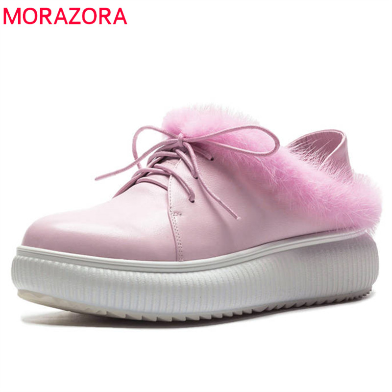 MORAZORA 2018 top quality genuine leather shoes women round toe lace up autumn shoes comfortable platform flat shoes woman цена
