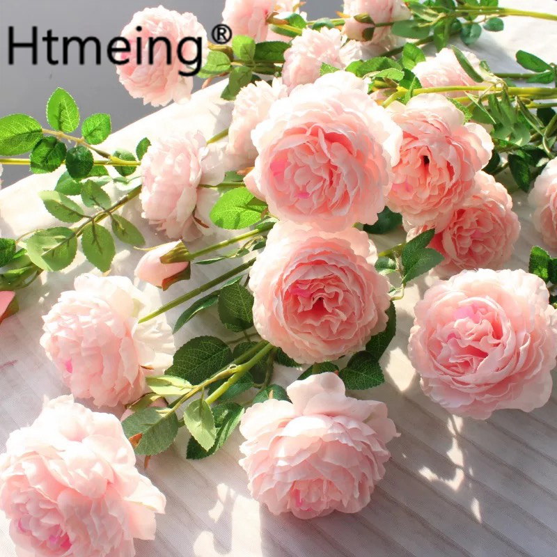 flower decoration for wedding reception.htm htmeing artificial 3 heads rose flowers branch western silk rose  htmeing artificial 3 heads rose flowers