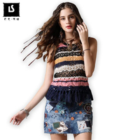 summer 2018 Sleeveless vest knitted Retro slim T shirt tops women Hollow t shirt Hit color Sweater tee shirt for Ladies Clothing