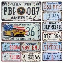 Американский автомобиль металлический номерной знак винтажный домашний декор жестяная вывеска Бар Паб декоративный металлический знак для гаража металлическая живопись табличка