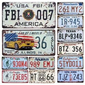 新米国車メタルナンバープレートヴィンテージ家の装飾ティンサインバーのパブガレージ装飾金属塗装プラーク