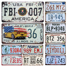 New United States Car Metal License Plate Vintage Home Decor Tin Sign Bar Pub Garage Decorative Metal Sign Metal Painting Plaque(China)