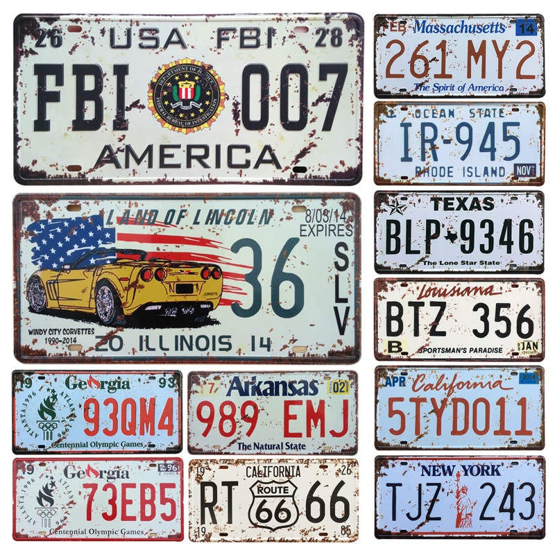 New United States Car Metal License Plate Vintage Home Decor Tin Sign Bar Pub Garage Decorative Metal Sign Metal Painting Plaque