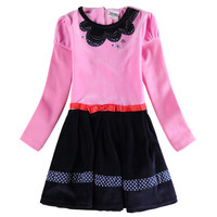 2016 Nova Spring Autumn Frocks Girls Dresses Pink Solid Girls Dress Cute Fashion Designs Girls Dresses
