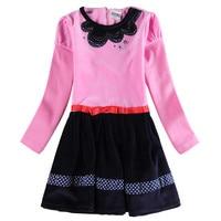 2016 Nova Spring Autumn Frocks Girls Dresses Pink Solid Girls Dress Cute Fashion Designs Girls Dresses