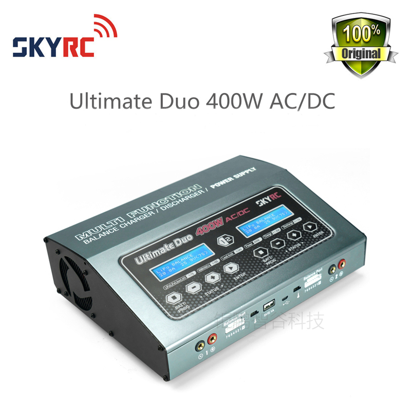 SKYRC D400 Ultimate Duo 400W AC/DC Battery Balance Charger/Discharger/Power Supply original skyrc sk 800084 01 b6 mini 6a 60w dc11 18v professional balance charger discharger w t 2 6lcd