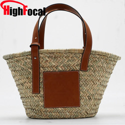 HIGHFOCAL 2019 Straw Bag woven Tote Super popular Large Capacity Basket Bag Luxury Designer High Quality Beach Bag Famous Brand