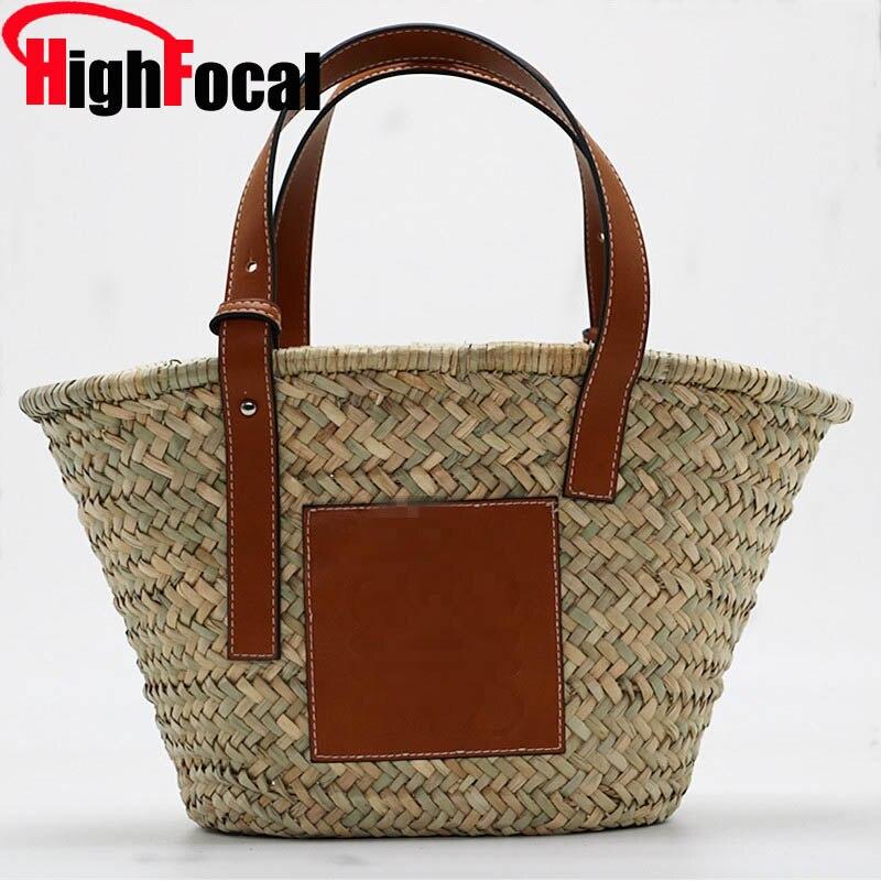 HIGHFOCAL 2019 sac de paille tissé fourre-tout Super populaire grande capacité panier sac de luxe Designer de haute qualité sac de plage célèbre marque