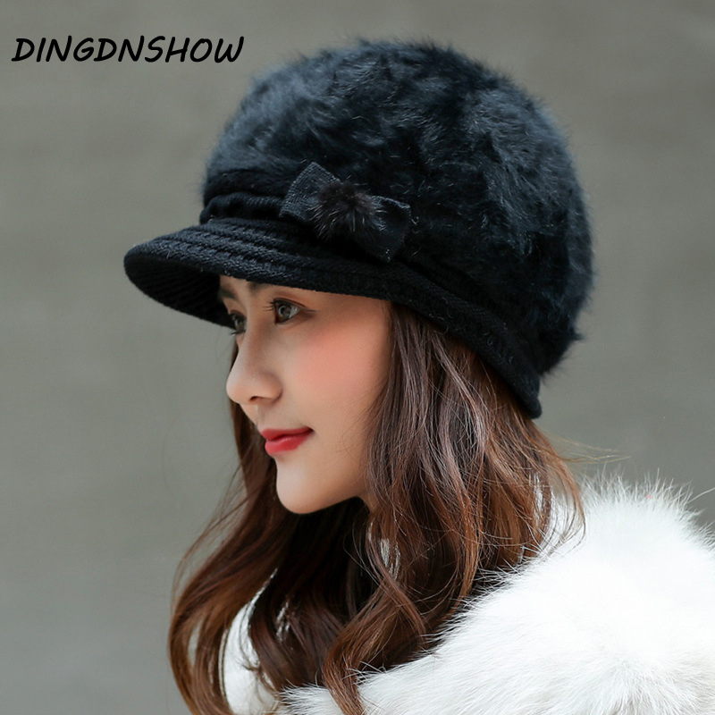 [DINGDNSHOW] Brand Beanies Hat Skullies Cotton Lovely Bowknot Bonnet Hat Warm Knitted Winter Cap 2019 Women Hat Wool