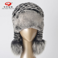 2016 New hat real fur women hat genuine fur Rex rabbit cap with ears real fox fur hat pompom for lady hot sale