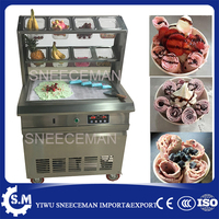 60cm big pan fried ice cream rolls machine commercial fried milk yogurt maker machine frying automatic rolling machine for sale