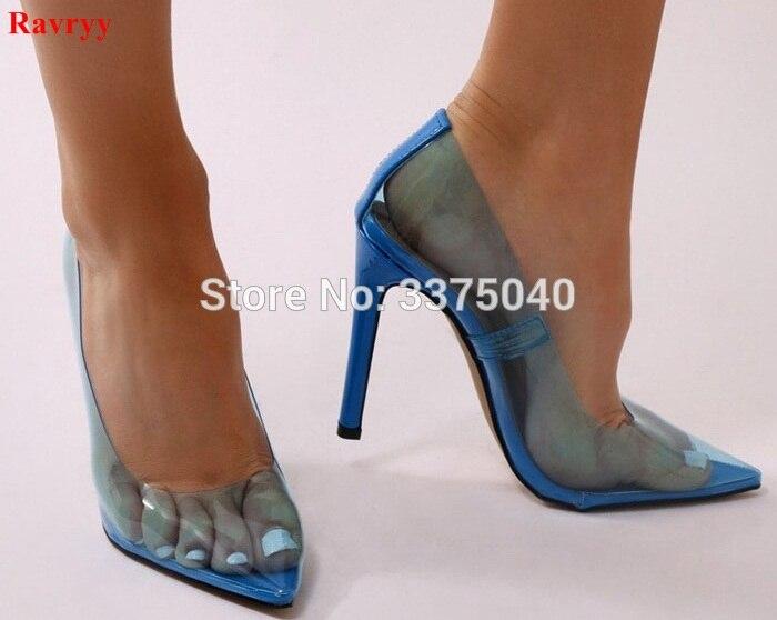 Pvc 2 color Transparente Señoras De Zapatos Punta Talón Pie 1 5 color Alto  Partido Dedo Del Azul Boda Sexy Ravryy 3 Tacones ... f84c22020a51
