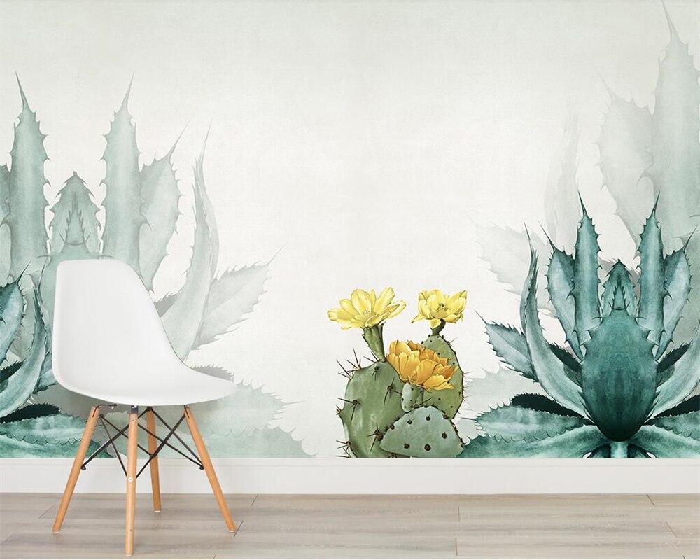 Beibehang пользовательские обои акварель кактус скандинавском стиле ТВ фоне стены гостиной спальня фон стен 3d обои
