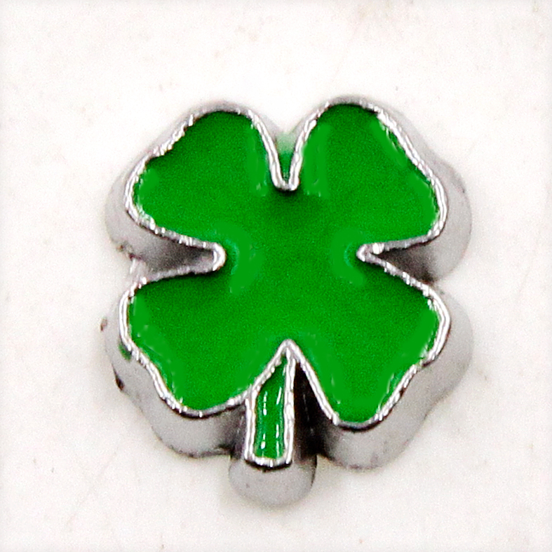 100PCS Cute Green Four Clover Leaf Alloy Floating Charms Fit Glass Locket Charms DIY Jewelry Accessories