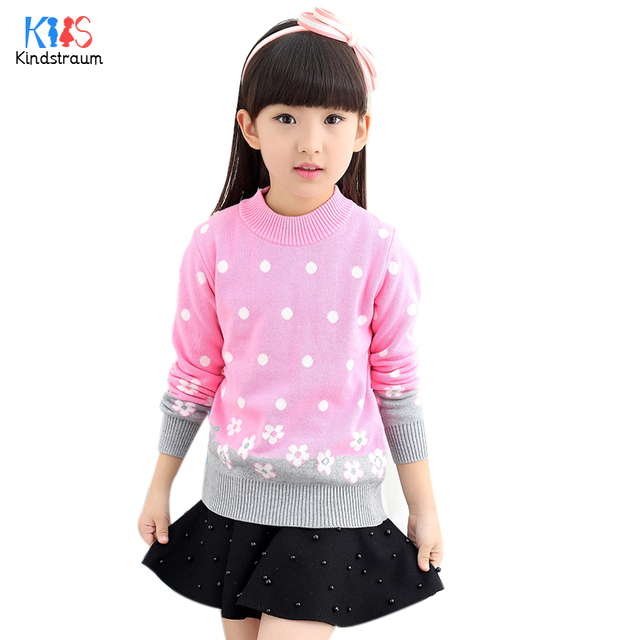 Kindstraum 2017 New Girls Dot Pollover High Cotton Children Flowers Long Sleeve Clothes Fashion Sweaters for Kids,RC1091