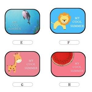 Image 5 - 2 piezas bonita de dibujos animados de coche cortina de diseño electrostática adsorción coche bloque de sol Anti UV Universal Ventana de coche bebé gafas de sol