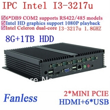Best Industrial computers i3 with Gigabit Ethernet 6 USB 6 COM 8G RAM 1TB HDD WIN7 WIN8 LINUX NAS free drive 7 24 hours