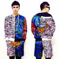 Leopard  Splice Jacket Pants For Men GD Male Singer Bar Show DJ Hot Trench outerwear Hiphop Dance Party Outfit Costumes