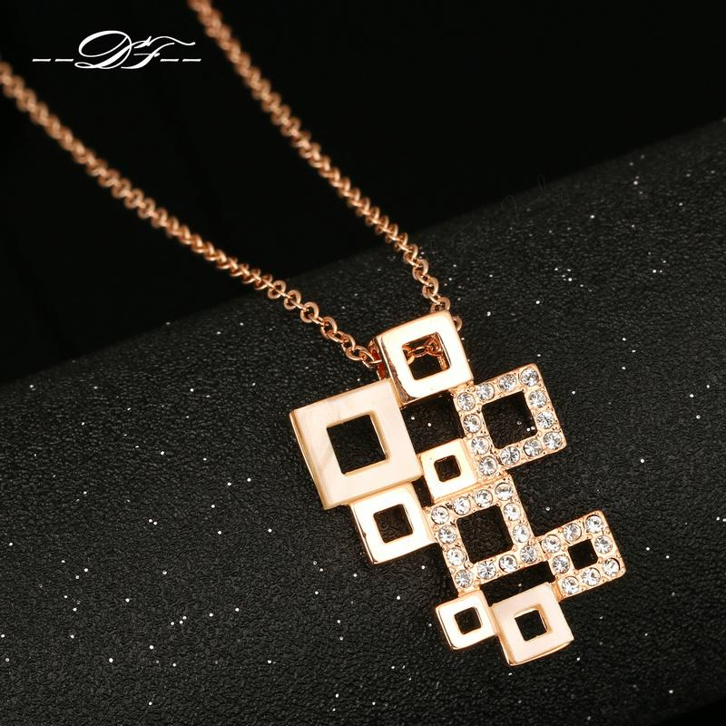 DFN092 Geometric Figure Rose Gold Pated Charms Necklaces & pendants Fashion Jewelry For Women Gifts Crystal Chains colares