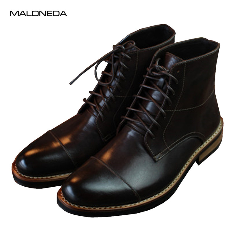 MALONEDE Handmade Full Grain Leather Goodyear Short Boots Waterproof Lace up Formal Dress Ankle Boots for MenMALONEDE Handmade Full Grain Leather Goodyear Short Boots Waterproof Lace up Formal Dress Ankle Boots for Men