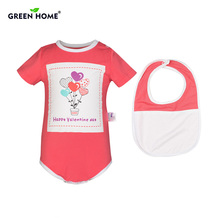Inexperienced House Toddler Romper+Saliva Towel 2 PCS 100% Cotton Child Jumpsuit Cute Boy Lady New child Romper and Bib High quality Child Garments