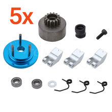 5Sets/Lot 14T Clutch Bell Shoes Springs Bearings Flywheel Assembly Kit for 1/8 RC Model Car with 21-28cxp Nitro Engine Parts(China)