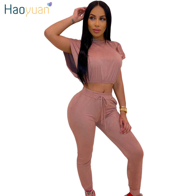 b3120b23d3 HAOYUAN Two Piece Set Summer Outfits for Women Tracksuit Festival Crop Top  and Pant Sweat Suit Sexy 2 Piece Outfits Matching Set