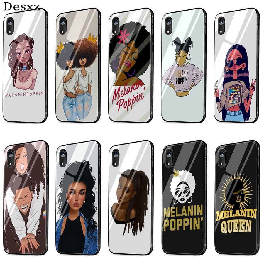 Desxz 2bunz Melanin Poppin Black Girl Case Glass For Iphone 5 5s Se 6 6s 7 8 Plus X Xs Max Xr Protection Cover More Discounts Surprises Clothing, Shoes & Accessories