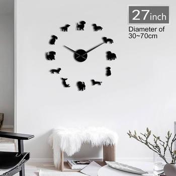 גזעי כלבים גדול DIY שעון קיר יפה כלבלב תחש חיות בית חולים קיר אמנות לחיות מחמד חנות דקור שעון מתנה עבור כלב מאהב