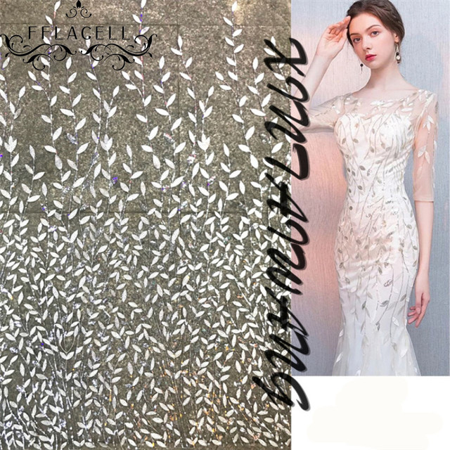 3ae546ca21 FFLACELL 1 yard sequin leaf embroidery lace net yarn African tulle fabrics  DIY charming evening dress handwork cloth