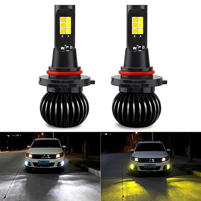 Car Fog Lamp 2pcs Fog Light 9005/9006/hb3/hb4/h1/h3/h11/h8/h27/881/880 High Bright Dual Color Car Led Front Fog Lamp Drl Lamp Auto Led Bulb